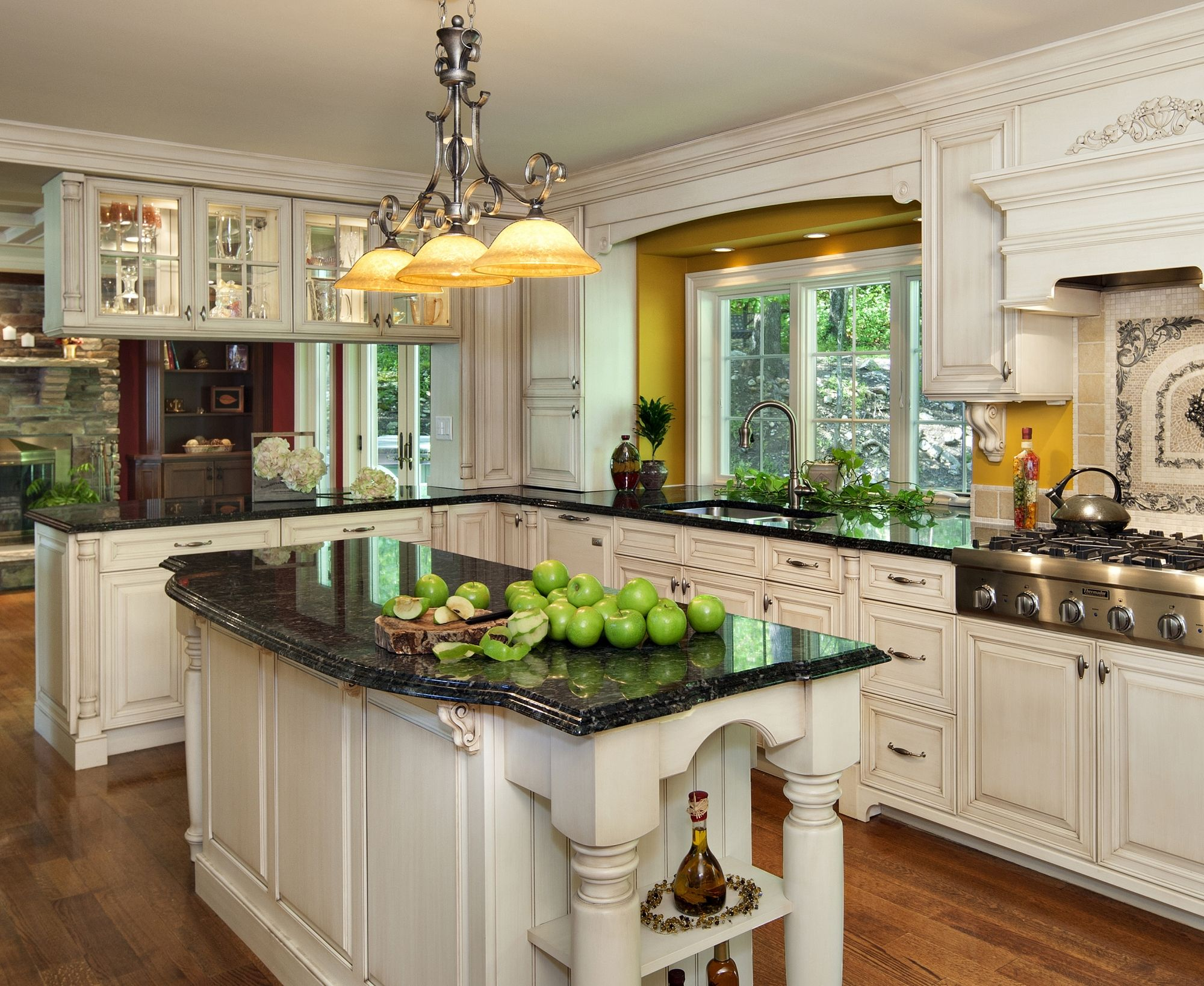 Kitchen Traditional White With Stunnidn Islands Black Granite Countertops And Yellow Pendant Lamp Design Inspiration