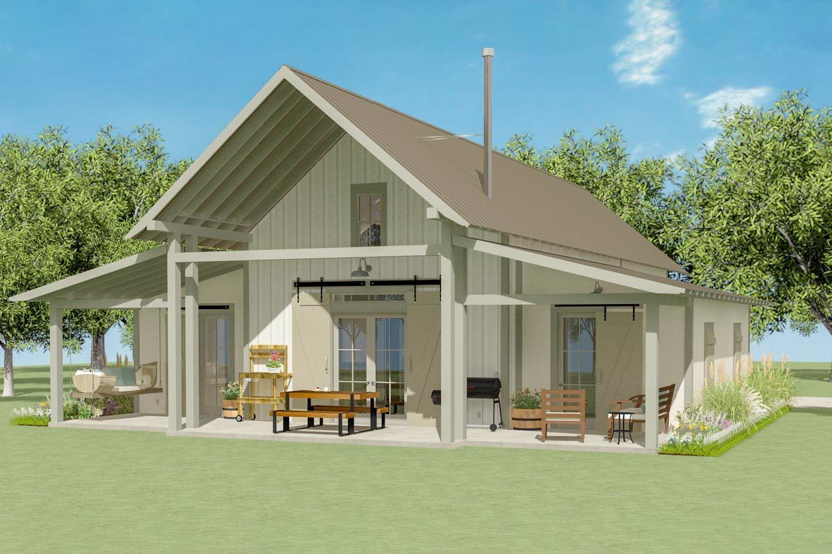 Plan 130009lls Exclusive Two Bedroom Bungalow With Loft Bungalow House Plans Small Lake Houses Barn House Plans