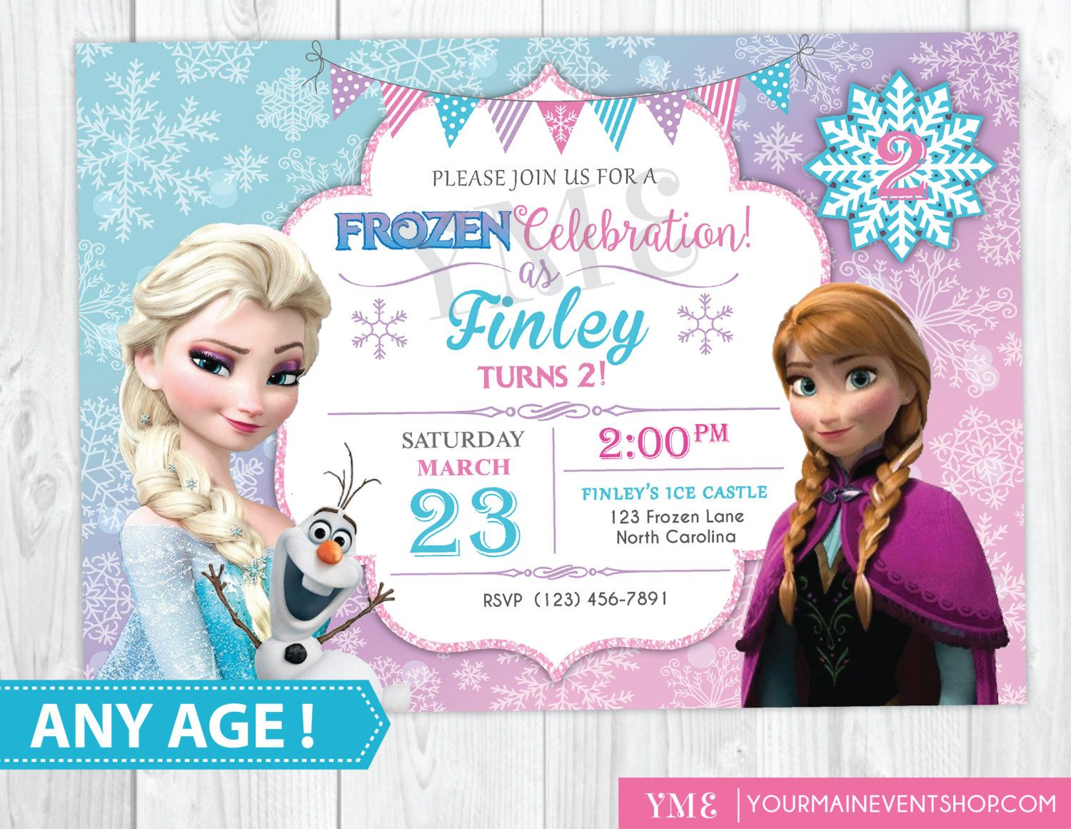 Frozen Birthday Invitation Printable, Frozen Invitation, Frozen ...