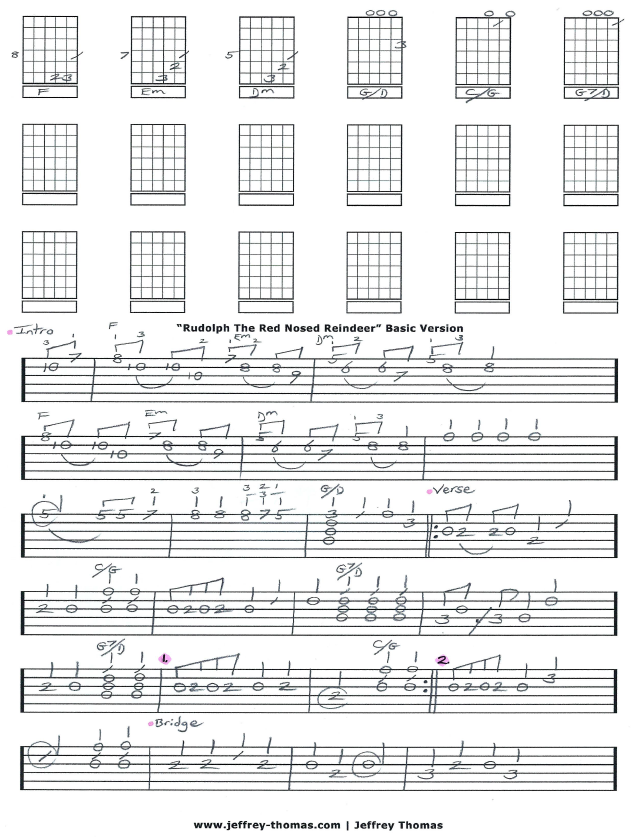 Rudolph The Red Nosed Reindeer Guitar Tab by Jeffrey Thomas. Enjoy ...