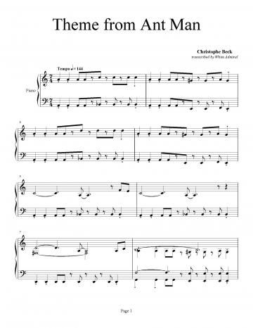 Theme From Ant Man Christophe Beck Piano Plateau Sheet Music