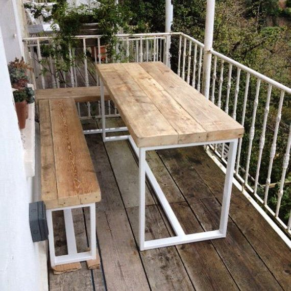 Reclaimed Industrial Chic 6-8 seater Garden table and benches.Bar ...