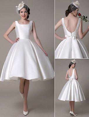 Tea Length Wedding Dress Short Satin Gown Sleeveless Backless All