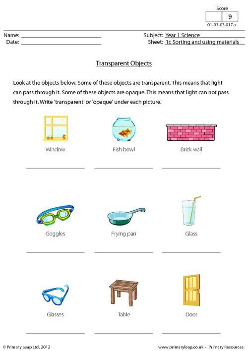 science worksheet transparent objects science printable worksheets. Black Bedroom Furniture Sets. Home Design Ideas
