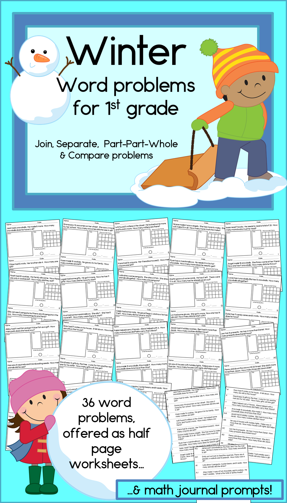 Winter Addition & Subtraction Word Problems for First Grade | Winter ...