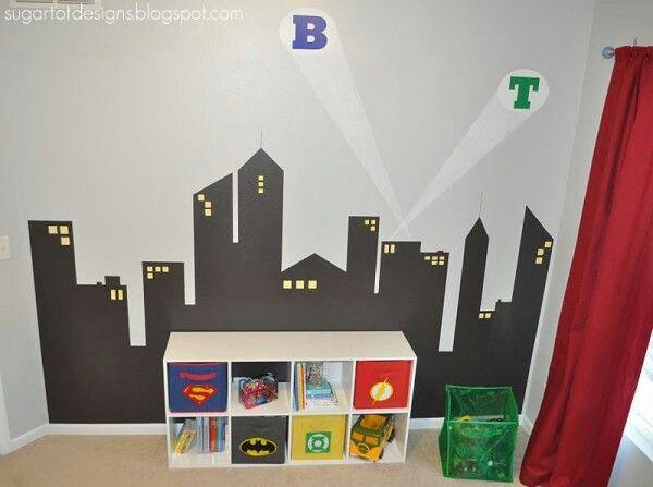 Ville murale · chambre super heroschambre des enfantsdeco rangementpetits garçonschambre garcondeco chambre enfantdeco enfantgarsidées pour