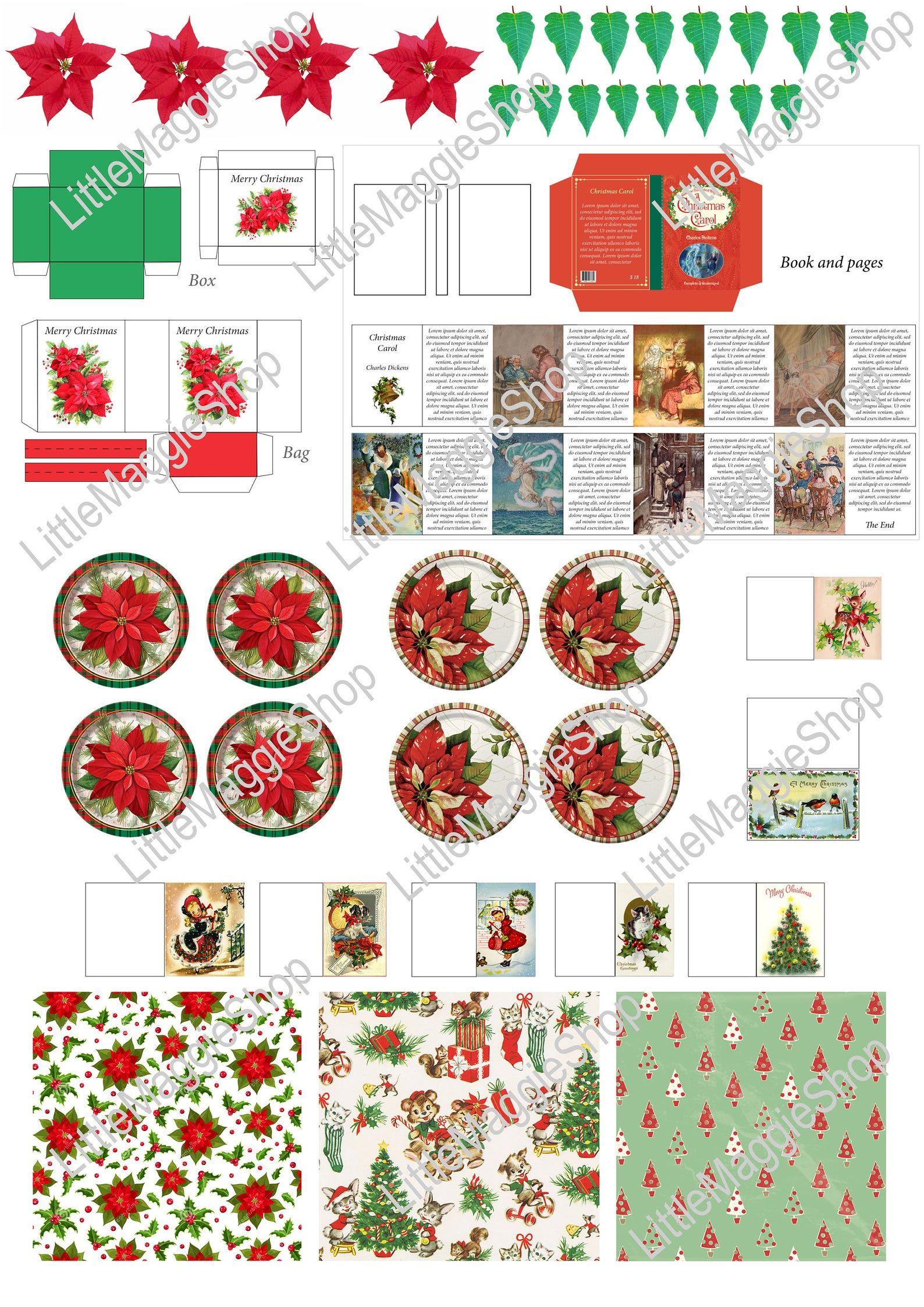 Printable Christmas Template Plates, Book, Greeting