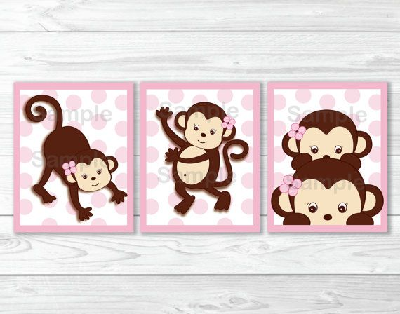 Pink Monkey Nursery Wall Art