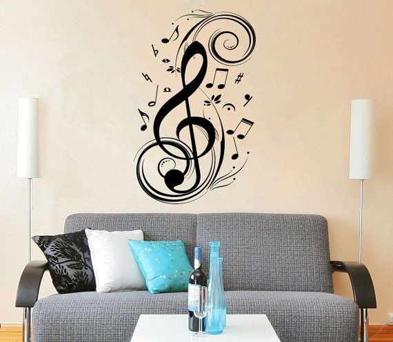 Nusic Note Wall Decal Treble Clef Floral Patterns Vinyl Sticker Decals  Musical Notes Waves Music Wall Decal Recording Studio Decor Art