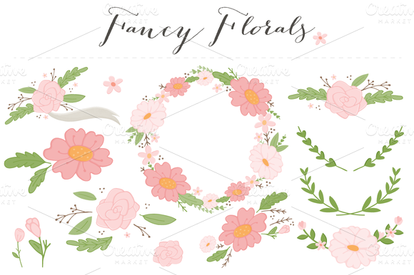 Check out Fancy Flowers Clip Art PNG by Angie Sandy on Creative Market