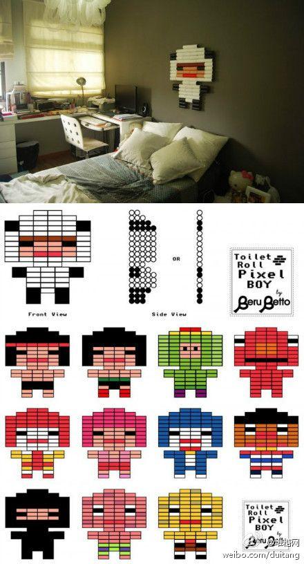 pixel boy from toilet tissue rolls.