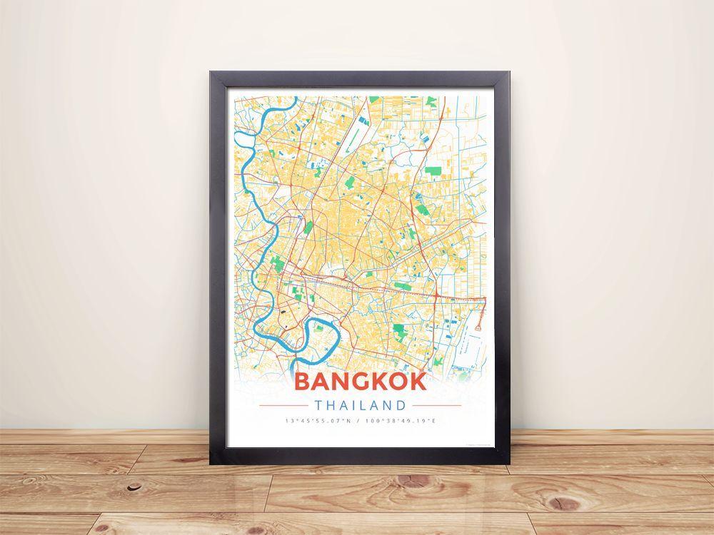 Framed Map Poster of Bangkok Thailand