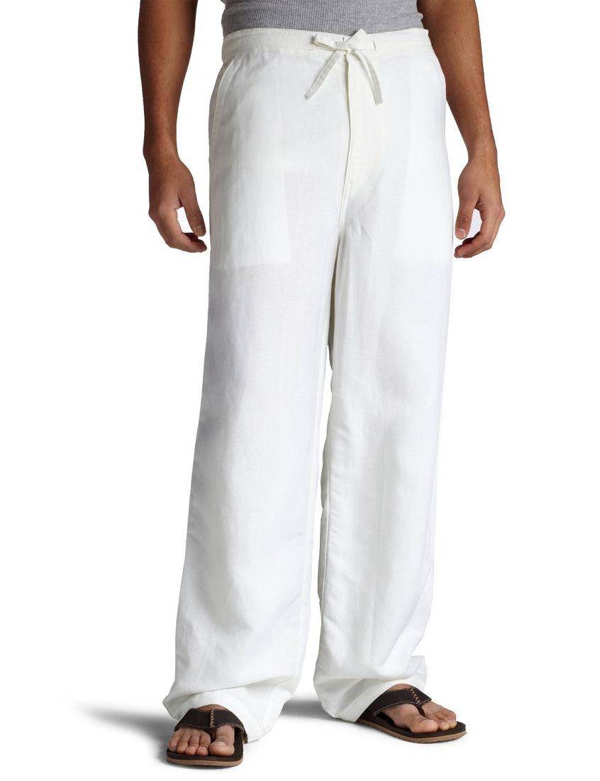 Mens Cubavera Solid Drawstring Elastic Linen Pants C85B0063