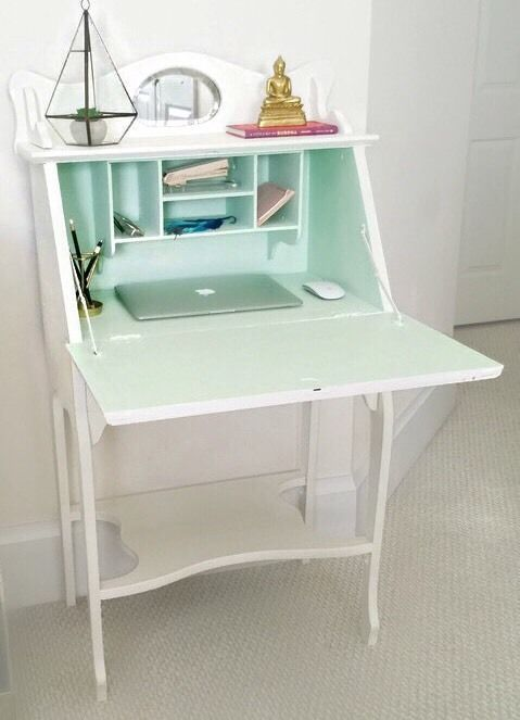 Antique Small Secretary Desk Mirror And Shelves Shabby Eclectic