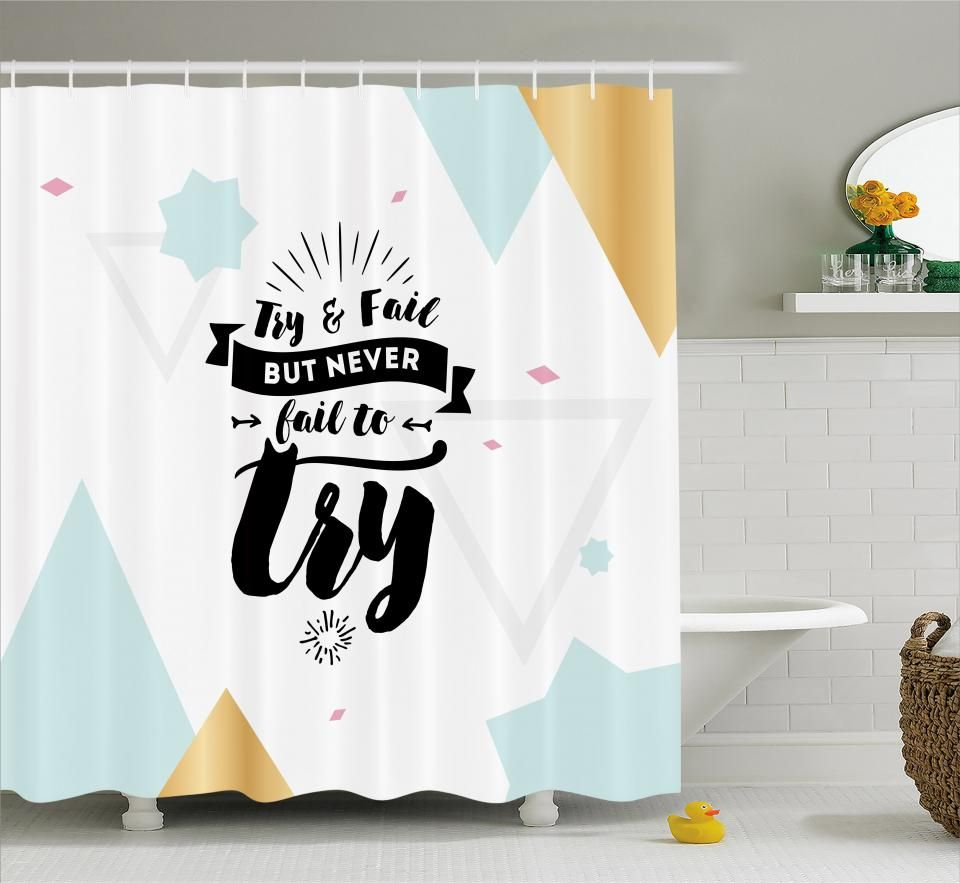 Print Design Never Stop Dreaming Waterproof Bathroom Shower Curtain 60 x 72 Inch