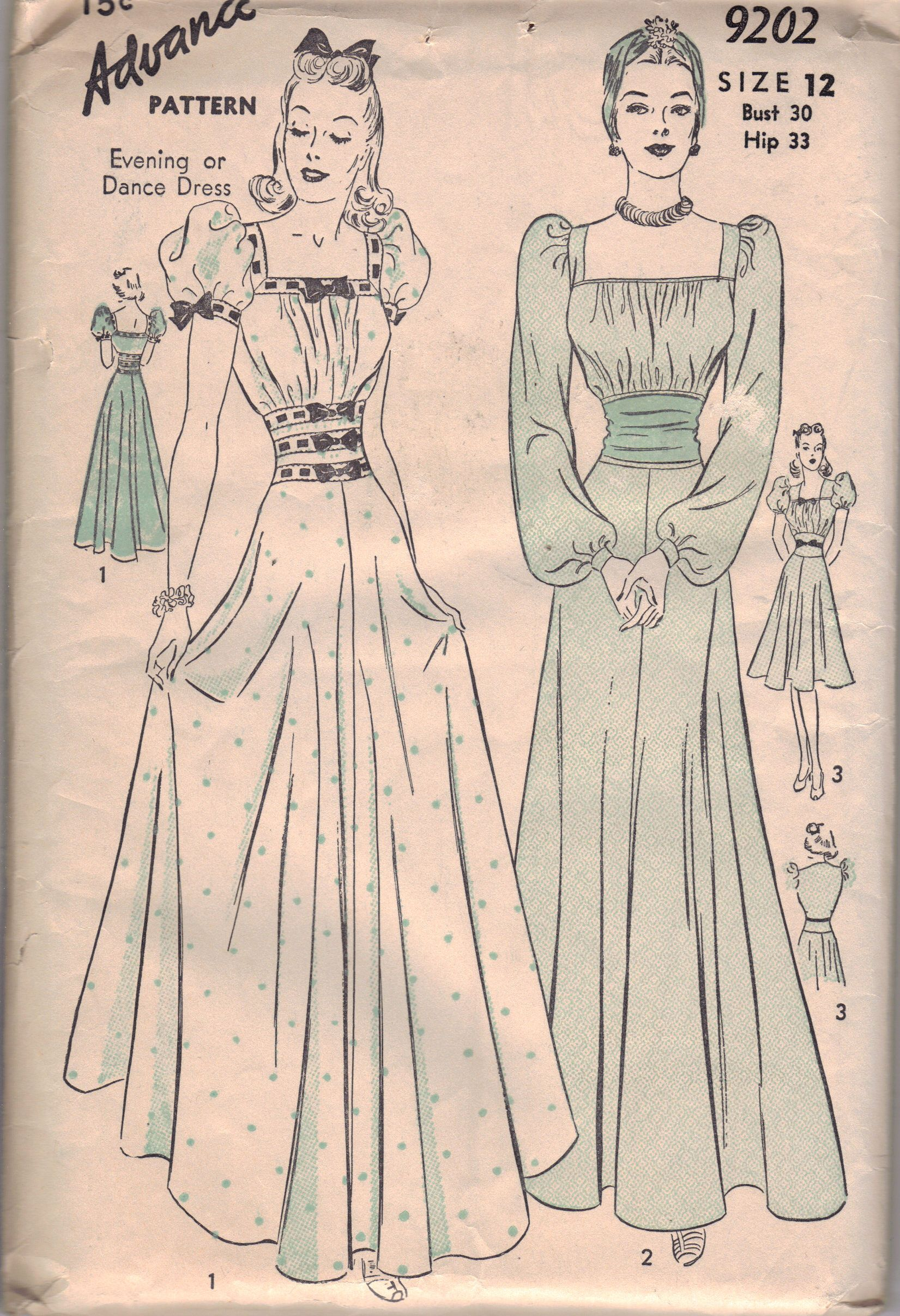 1940 S Formal Dress Pattern From The Collection Of Stephanie Pitchers Sewing Pattern Book Wwii Fashion Vintage Sewing Patterns [ 2414 x 1651 Pixel ]