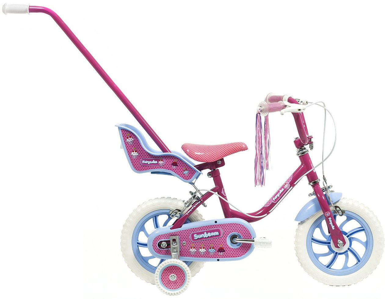ca26179af09 12 inch Girl\'s Bike with Parent Handle and Stabilisers Pink Blue ...