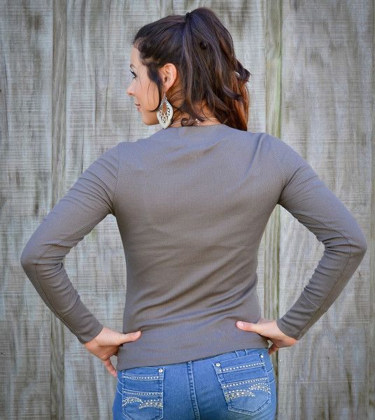 Long Sleeve Textured V-Neck Top