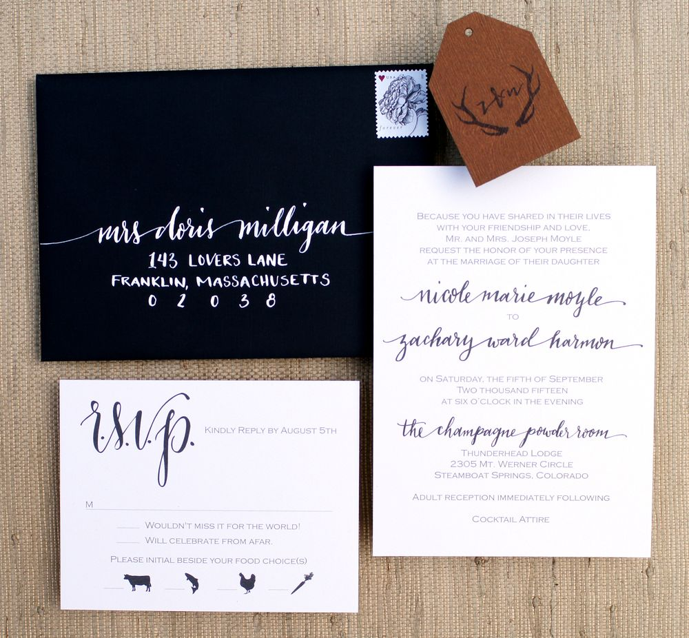 Simple and romantic wedding invitations with antler logo in black