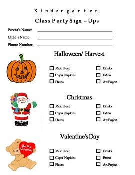 Parent Letter Classroom Holidays and Party Sign  Up Sheet  Room
