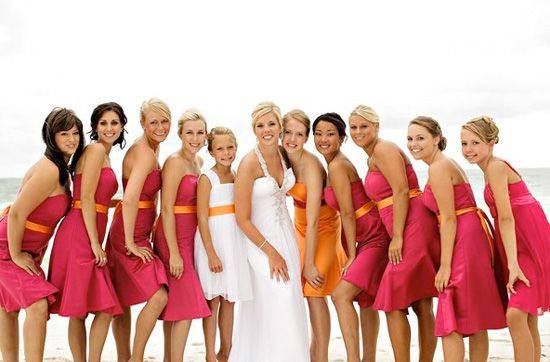 Orange and Pink Wedding Dress