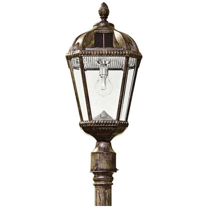 Royal Bulb 87 H Bronze Solar Led Outdoor Light And Post 13w91 Lamps Plus With Images Solar Led Lights