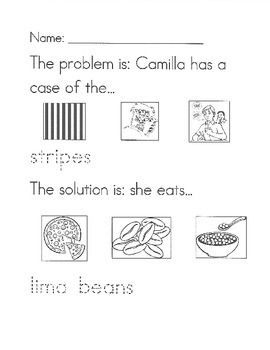 A Bad Case Of Stripes Problem Solution Worksheet Bad Case Of