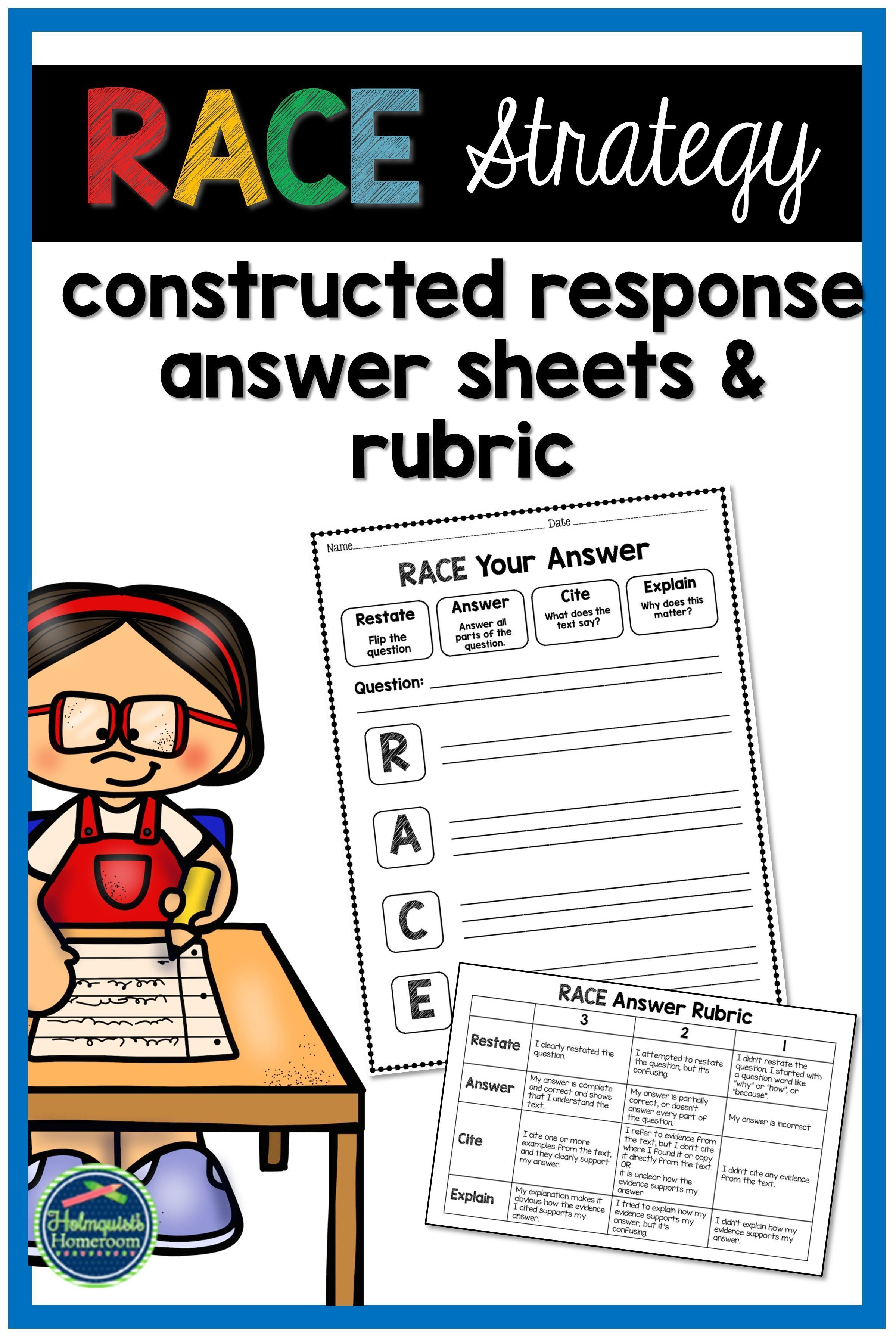 Race Constructed Response Answer Sheets Amp Rubric