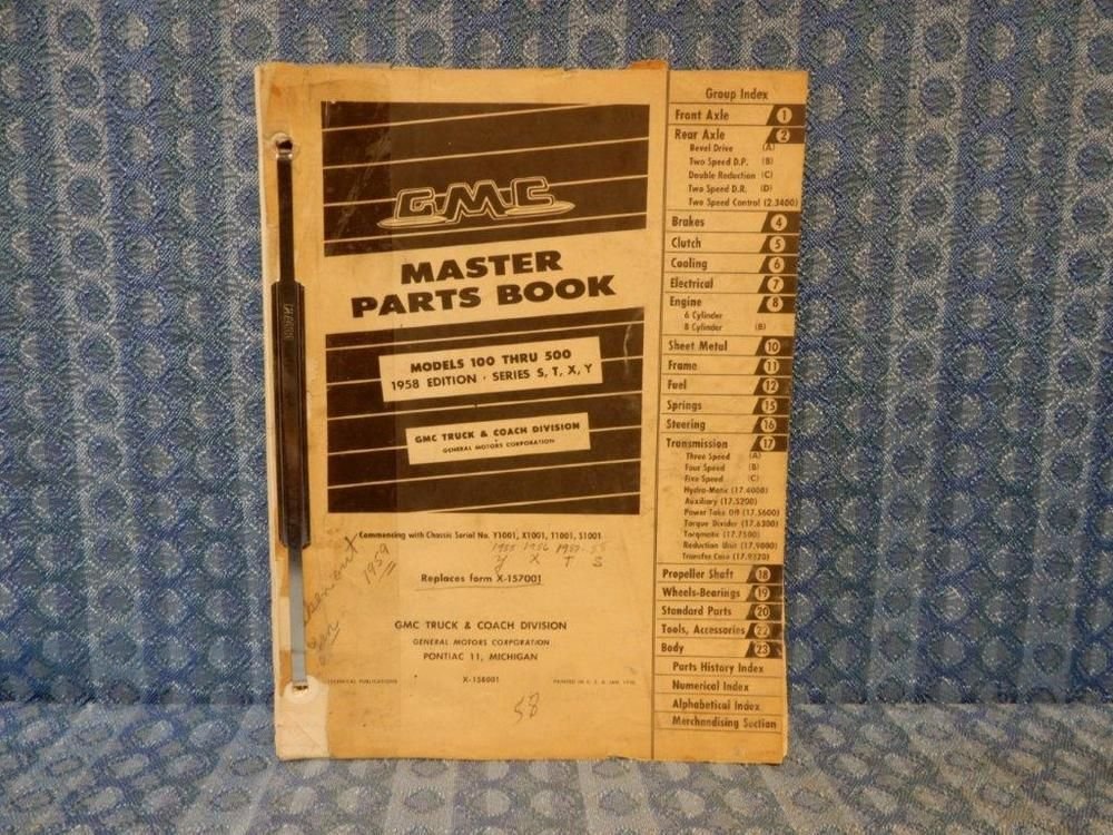 1958 GMC Models 100-500 Original Master Parts Book / Catalog #GMC
