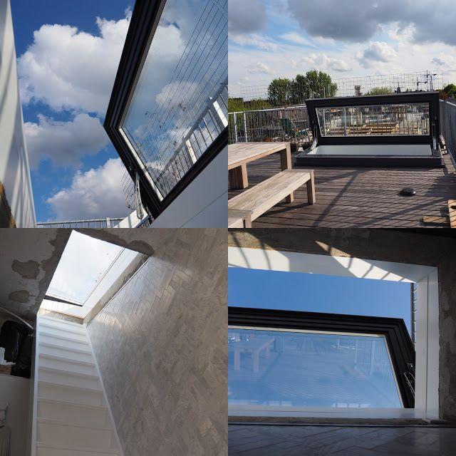 Voorbeeld van hoe een Skydoor licht brengt en buiten naar binnen haalt in een voormalige Openbare Lagere School in Amsterdam. Het dak van het huis biedt nu een hele extra leefruimte met uitzicht over Amsterdam. Dit glazen dakluik is speciaal op maat gemaakt voor dit project: doordat het extra groot is, is de uitstap vanaf binnen comfortabel.
