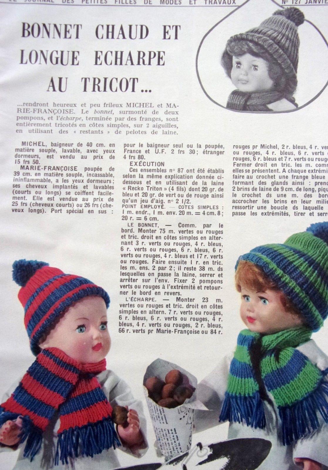 PAGE poupée MODES ET TRAVAUX N°127- JANV 1964 - M. FRANCOISE ET ... f223c32f89d
