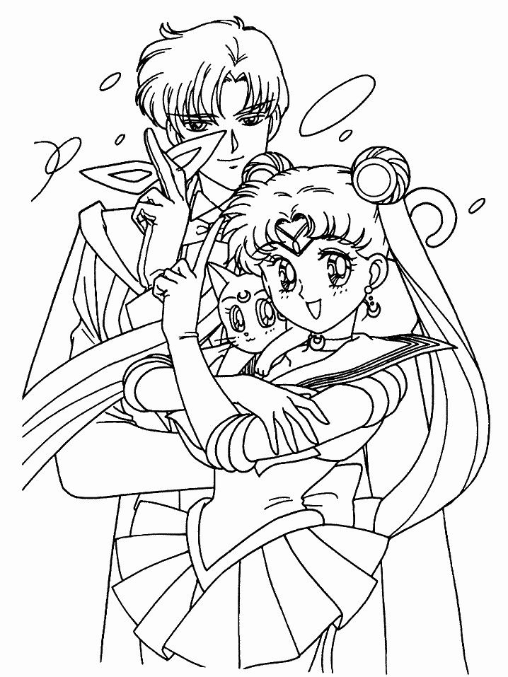 Sailor Moon Tuxedo Mask And Luna Coloring Page By Sailortwilight