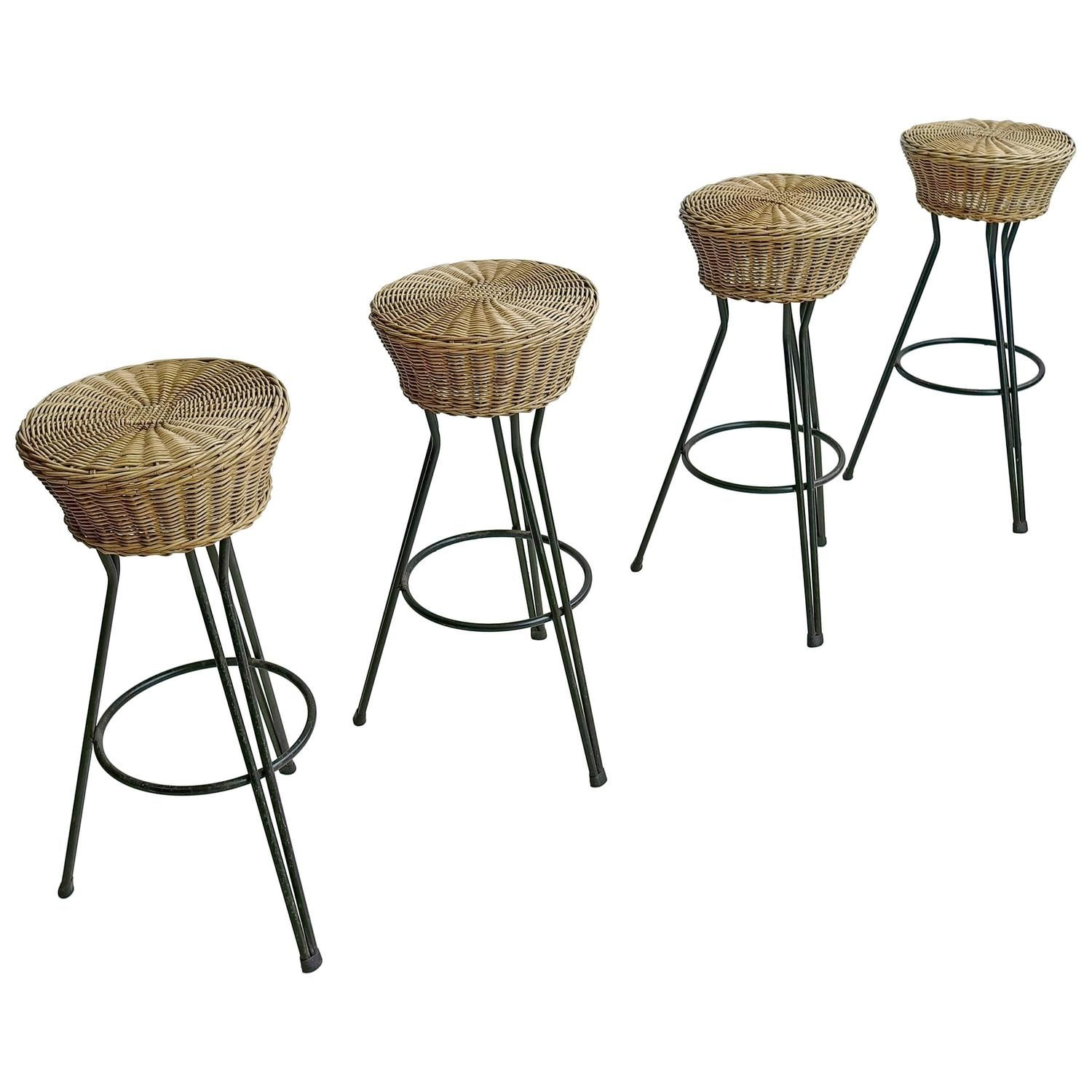 Set Of Four Hairpin Barstools In Wicker And Steel By Dirk Van Sliedregt Bar Stools Wicker Modern Stools
