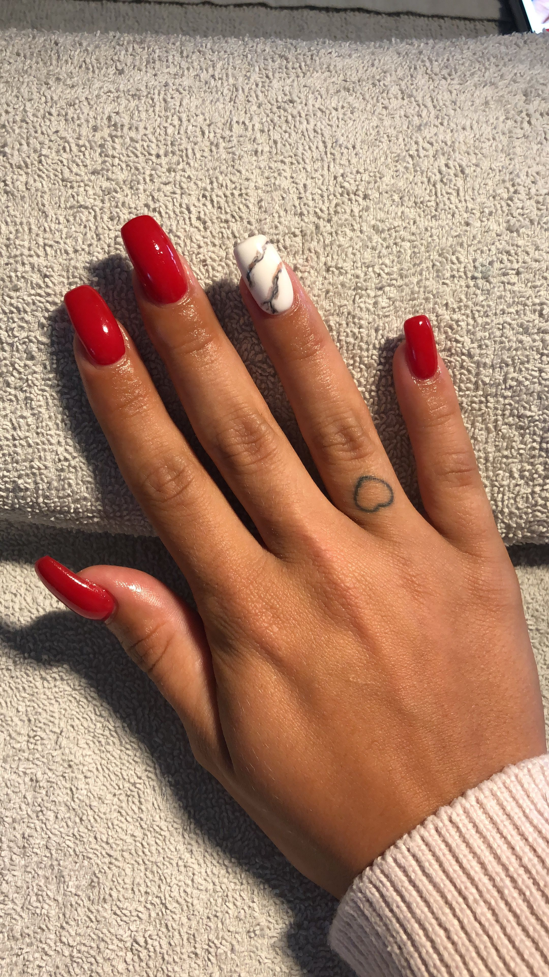 #red #marble # nails