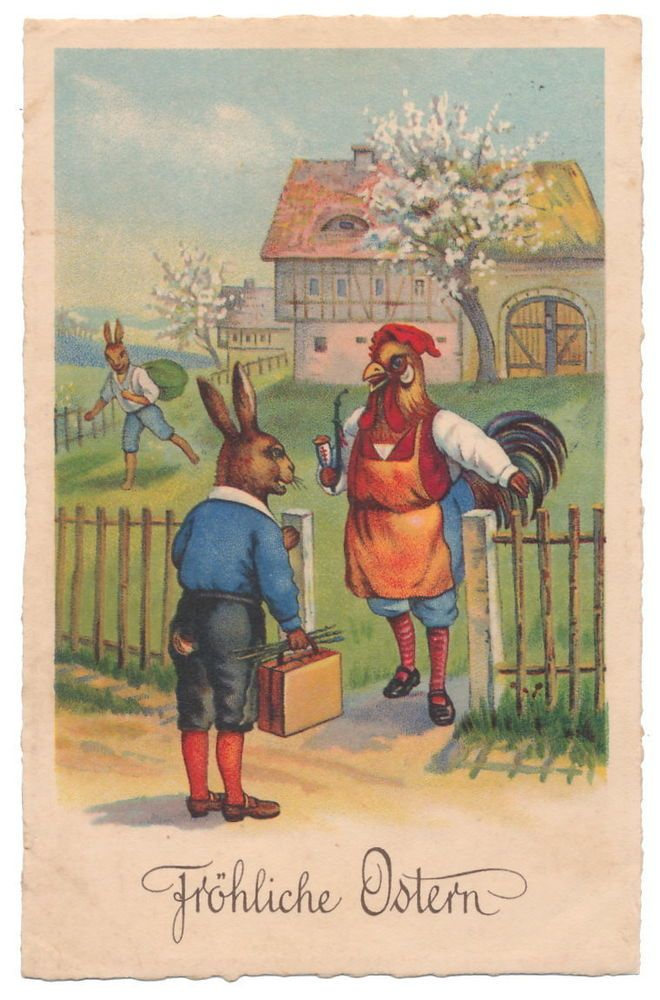 Easter - Dressed Rabbit Distracts Rooster for Thieving Friend
