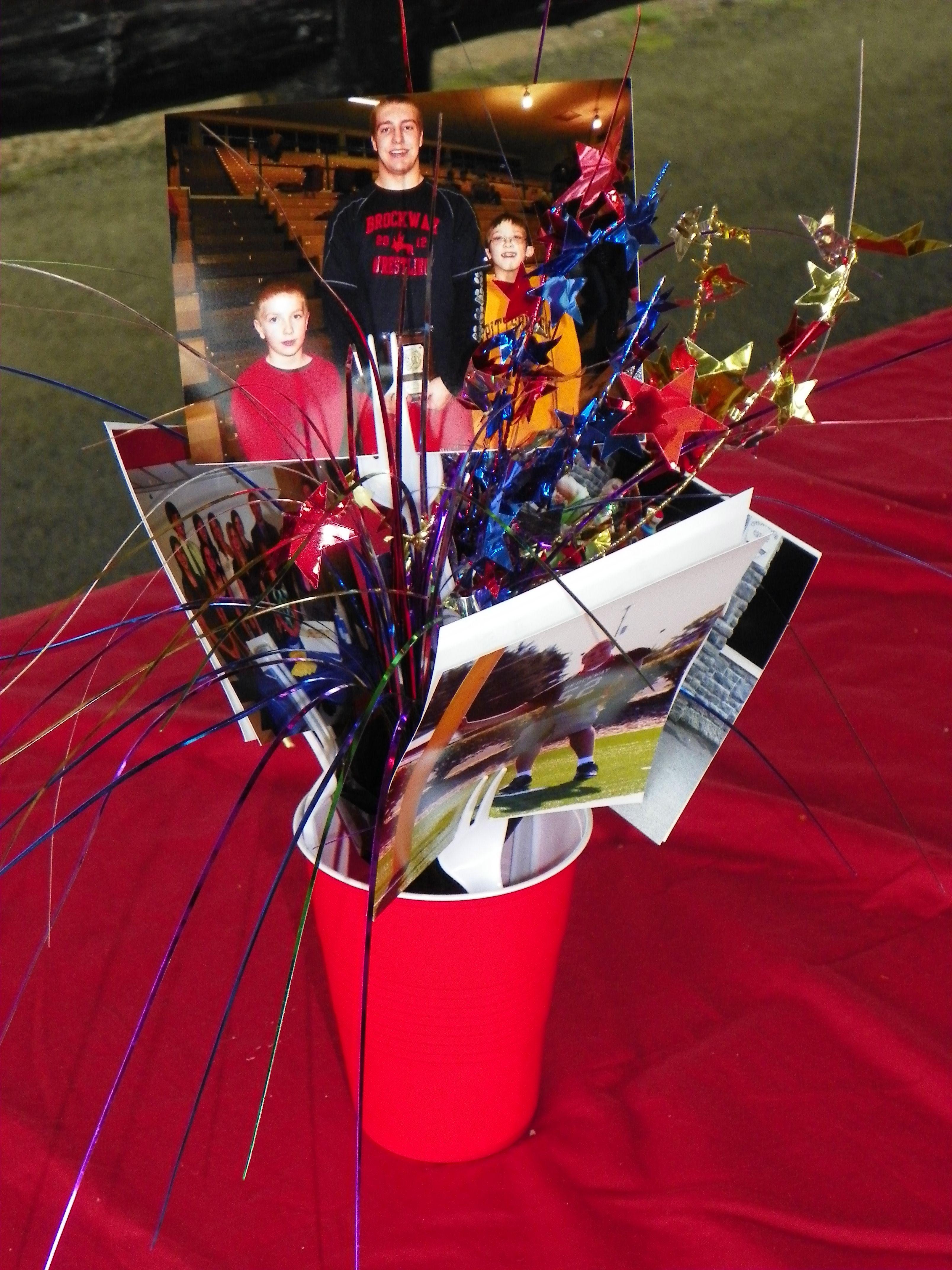 Graduation centerpiece using photos balloon weights red