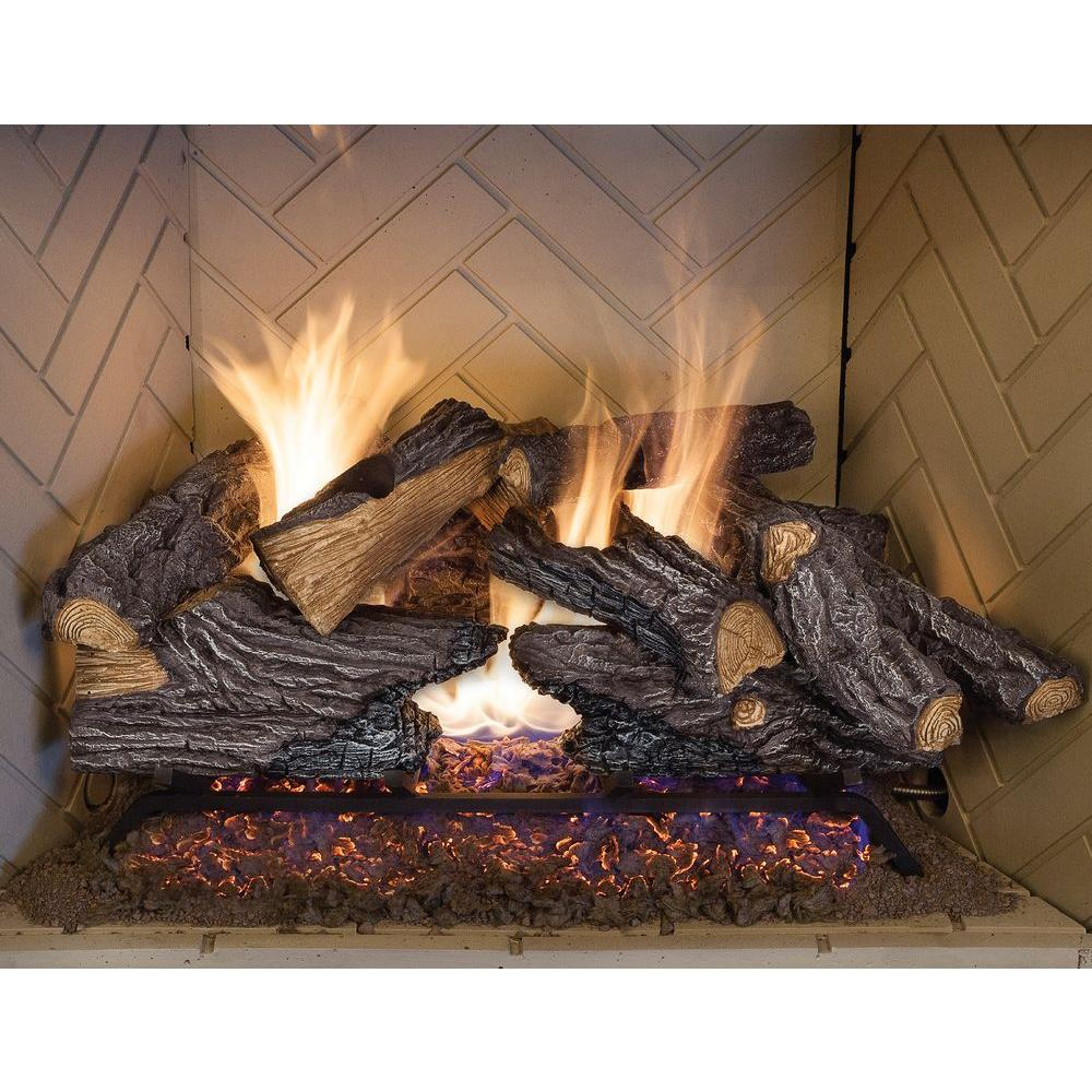 Emberglow 24 In Split Oak Vented Natural Gas Log Set So24ngdc The Home Depot Gas Fireplace Logs Gas Logs Gas Log Sets