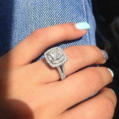 Certified 2 70Ct White Princess Diamond Solitaire Engagement 14K White Gold Ring