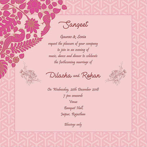 wedding invitation wording for sangeet ceremony weddding cards