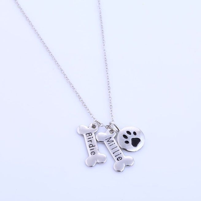 Adorable Personalized Dog Lover Necklace In Silver 2 Monogramed Bones Pets Names And Paw Print Pendant