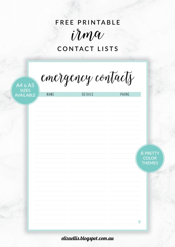 Printable Contact List Pleasing Free Printable Irma Contact Lists  Eliza Ellisincluding .