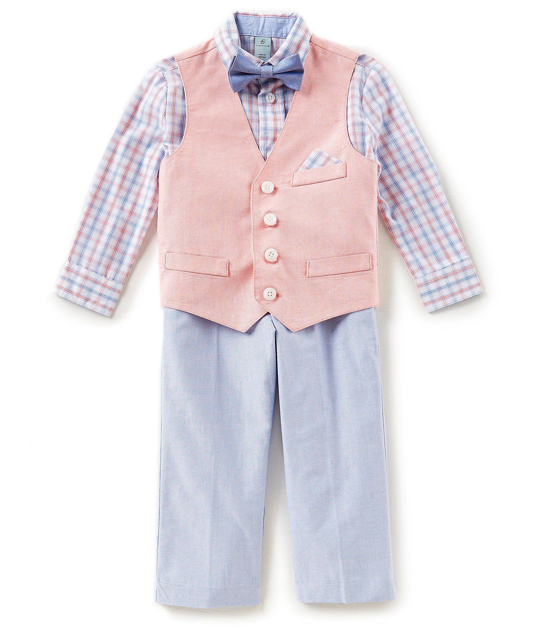 7562bb16f544 Class Club Little Boys 2T7 Plaid ButtonDown Shirt Vest Pants and Bow Tie  4Piece Suit Set #Dillards