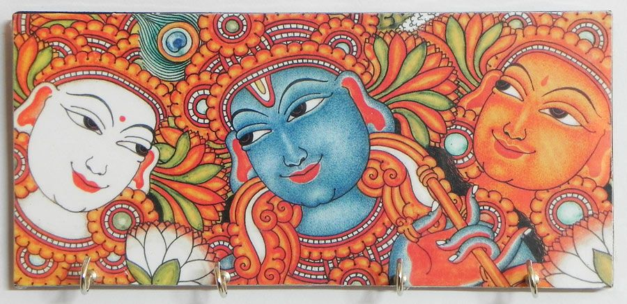 Radha krishna and gopini mural deco painting on a wooden for Mural radha krishna