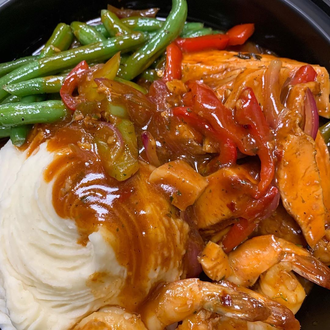 Bbq chicken and shrimp come taste our great food open