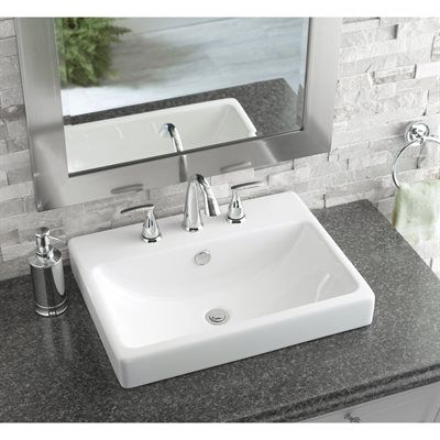 AquaSource White Fire Clay Drop-In Rectangular Bathroom Sink with - Vessel Sinks Bathroom