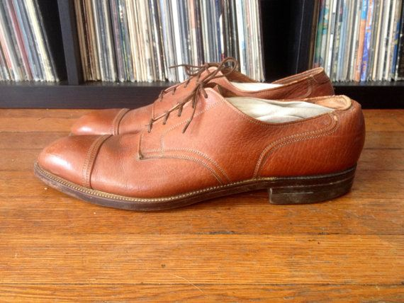 Vintage 1940s 50s Mens NUNN BUSH Brown Leather Cap Toe Oxford