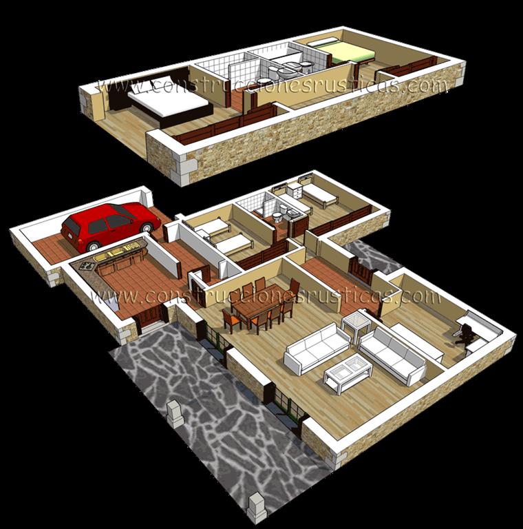 3d de distribución interior de casa rústica de piedra de planta y media de 4 dormitorios