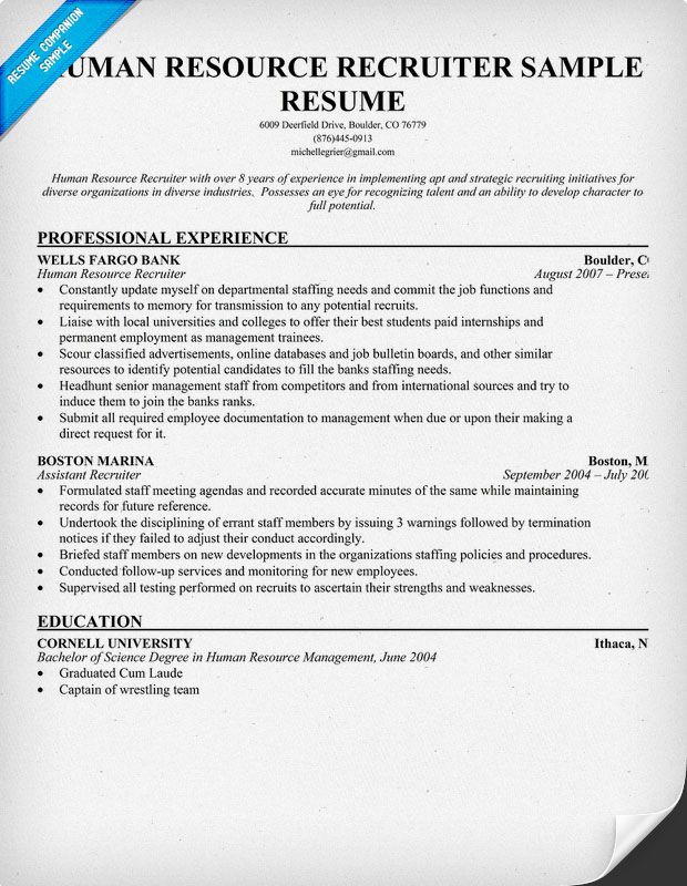 Human Resource #Recruiter Resume (resumecompanion) Resume - examples of hr resumes