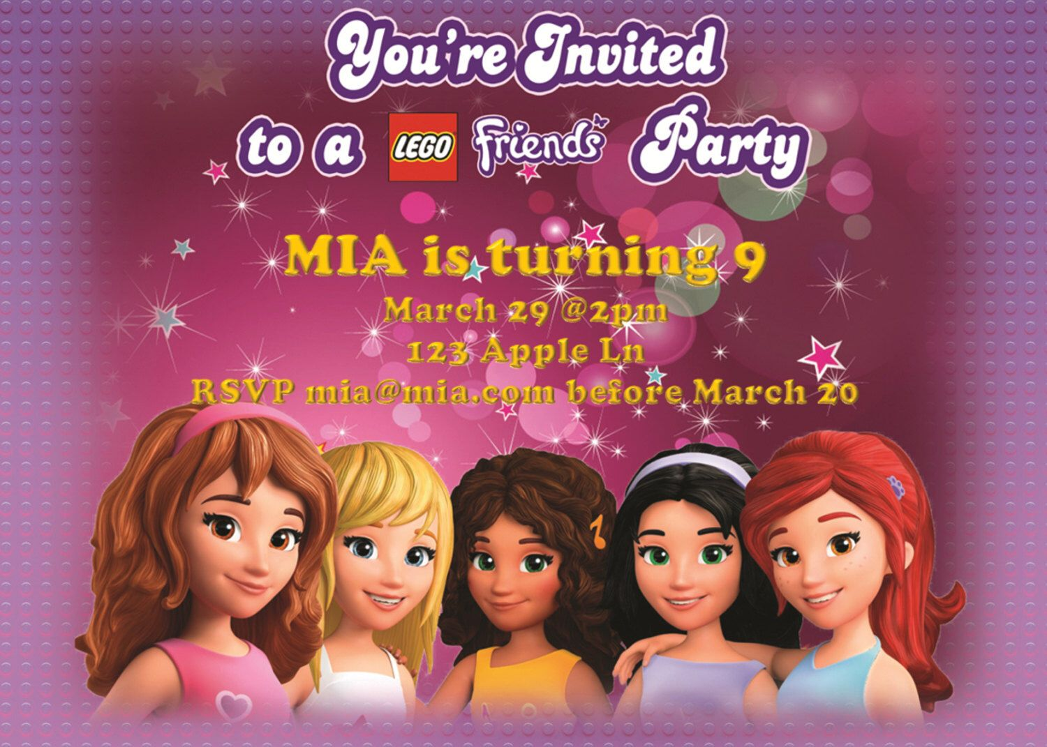 Lego FRIENDS Girl Birthday Party Invitation with Free by Design13 ...