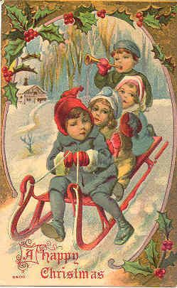a happy victorian christmas vintage post card with a victorian setting db usd with writing on back and in excellent condition